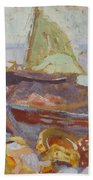 Boats On The Shore Beach Towel