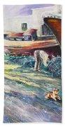 Boats Yard In Villajoyosa Spain Beach Towel