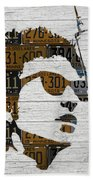 Bob Dylan Minnesota Native Recycled Vintage License Plate Portrait On White Wood Beach Towel