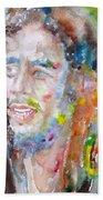 Bob Marley - Watercolor Portrait.17 Beach Towel