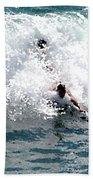 Body Surfing The Ocean Waves Beach Towel