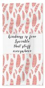 Bohemian Feathers Coral  Kindness Is Free Beach Sheet