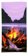 Bonfire On The Beach, Point Of The Beach Towel