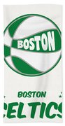 Boston Celtics Vintage Basketball Art Beach Towel