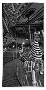 Boston Common Carousel Boston Ma Black And White Beach Towel