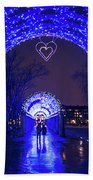 Boston Ma Christopher Columbus Park Trellis Lit Up For Valentine's Day Rainy Night Beach Towel
