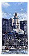 Boston Ma - Skyline With Custom House Tower Beach Towel