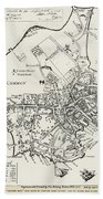 Boston Map, 1722 Beach Towel