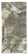 Boston Map Of 1842 Beach Towel