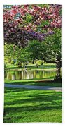 Boston Public Garden Pond Through The Cherry Blossom Spring Day Beach Towel