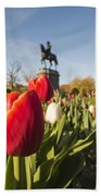 Boston Public Garden Tulips And George Washington Statue Beach Towel