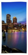 Boston Skyline At Dusk Beach Towel