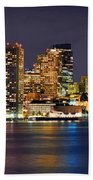 Boston Skyline At Night Panorama Beach Towel