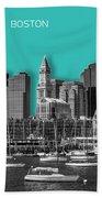 Boston Skyline - Graphic Art - Cyan Beach Towel