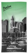 Boston Skyline - Graphic Art - Green Beach Towel