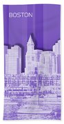 Boston Skyline - Graphic Art - Purple Beach Towel