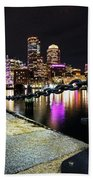 Boston Waterfront Skyline View Boston Ma Beach Towel