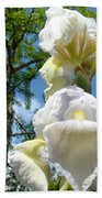 Botanical Landscape Trees Blue Sky White Irises Iris Flowers Beach Towel