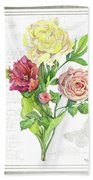 Botanical Vintage Style Watercolor Floral 3 - Peony Tulip And Rose With Butterfly Beach Towel