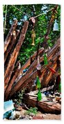 Bottle Fence In Golden New Mexico Beach Towel