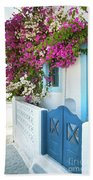 Bougainvillea In Santorini Island Beach Towel