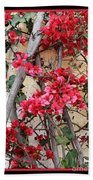 Bougainvillea On Mission Wall - Digital Painting Beach Towel