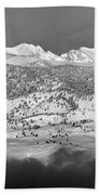 Boulder County Continental Divide Panorama Bw Beach Towel