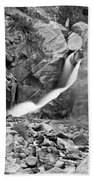 Boulder Falls Black And White   Beach Towel