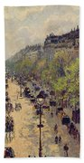 Boulevard Montmartre Beach Towel by Camille Pissarro