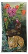 Bouquet And A Cat Beach Towel