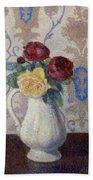 Bouquet De Roses Dans Un Vase 1885 Beach Towel