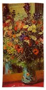 Bouquet In Front Of A Mirror 1877 Beach Towel