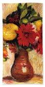 Bouquet Of Flowers In An Earthenware Pitcher Beach Towel