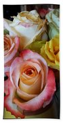 Bouquet Of Mature Roses At The Counter Beach Towel