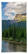 Bow River And Three Sisters Canmore Beach Towel