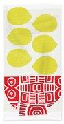 Bowl Of Lemons- Art By Linda Woods Beach Sheet