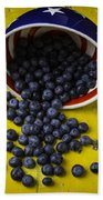 Bowl Pouring Out Blueberries Beach Towel