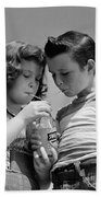 Boy And Girl Sharing A Soda, C.1950s Beach Towel
