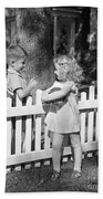 Boy And Girl Talking Over Fence, C.1940s Beach Towel