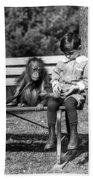 Boy And Orangutan Beach Towel