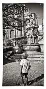 Boy At Statue In Sicily Beach Towel