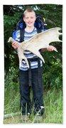 Boy Holding A Moose Antler Beach Towel