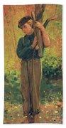 Boy Holding Logs Beach Towel by Winslow Homer