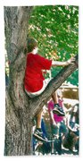Boy In A Tree Beach Towel