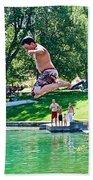 Boy Jumping Off The Board Into Dierkes Lake In Snake River Near Twin Falls-idaho   Beach Towel