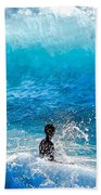 Boy And Wave   Kekaha Beach Beach Towel
