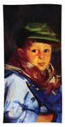 Boy With A Green Cap Also Known As Chico 1922 Beach Towel