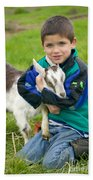 Boy With Goat Beach Towel