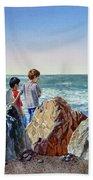 Boys And The Ocean Beach Towel