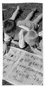 Boys Reading Newspaper Comics, C.1950s Beach Towel